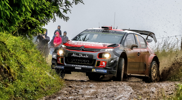 Still struggling: Andreas Mikkelsen, who replaced Kris Meeke for Rally Poland, also had trouble taming Citroen's wayward C3 WRC and finished back in ninth place in a weekend which saw him hit a tree and twice skid into fields