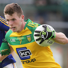 Gripping stuff: Longford's Larry Moran and Eoghan Ban Gallagher of Donegal