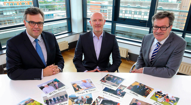 From left, Alastair Hamilton, chief executive of Invest NI, Paul Millar, head of WhiteRock Capital Partners, and David Murphy, chief executive of Nilgosc