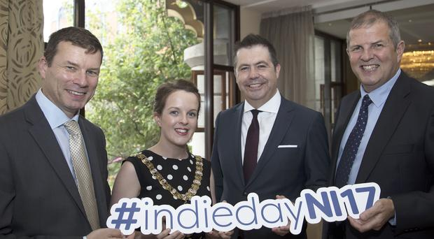 From left, Nigel Maxwell, chairman of Retail NI, Belfast Lord Mayor Nuala McAllister, Glyn Roberts of Retail NI and Alan Egner of sponsor Power NI at the launch of Independents' Day
