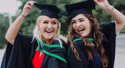 Pictured at the Ulster University Summer Graduation 2017 Coleraine Campus are from left, Marie Claire Crothers & Niamh Mckee graduating in Geography. Picture John Murphy Aurora PA