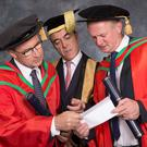 Pictured with Chancellor James Nesbitt are football managers Martin O'Neill and Michael O'Neill who both received honorary degrees from Ulster University this morning. Both received the honorary degree of Doctor of Science (DSc) for their contribution to Irish football. (Photo: Nigel McDowell/Ulster University)
