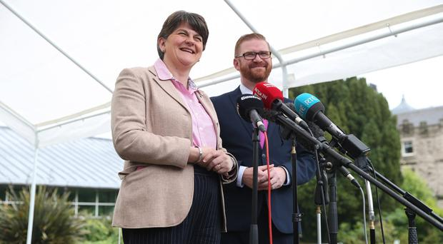 DUP leader Arlene Foster and Simon Hamilton pictured at a press conference this afternoon after further talks. Pacemaker