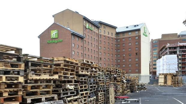 The controversial Sandy Row bonfire was one which was set to get pallets stored by the city council before they were nicked by dozy Dee's gang.