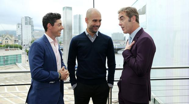 An Evening with Rory McIlroy in Conversation with Pep Guardiola at the Waterfront Hall, Belfast ahead of the The Dubai Duty Free Irish Open hosted by the Rory Foundation.
