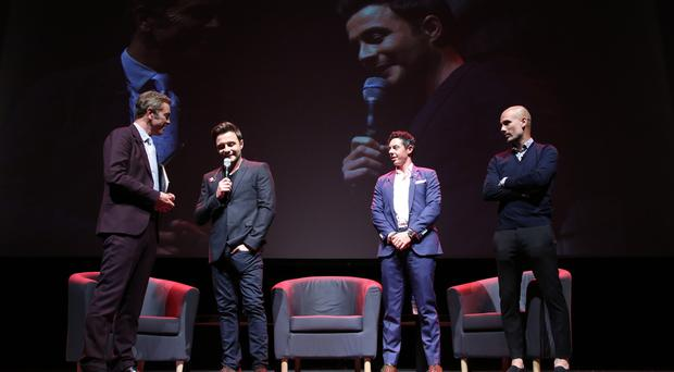 Rory McIlroy is pictured with, Pep Guardiola, Actor James Nesbitt and singer Shane Filan on stage at the Waterfront Hall. Photo by Darren Kidd / Press Eye.