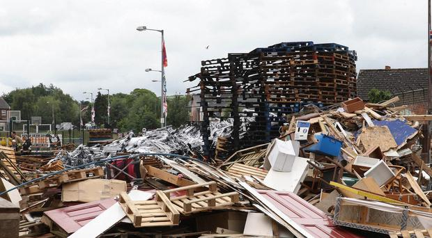 Bonfire off the Newtownards Road which was set fire to on Tuesday night early hours of Wednesday morning.