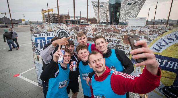 Northern Ireland finalists Distillery Elite celebrate winning at today's Red Bull Neymar Jr's Five Finals in Titanic Slipways