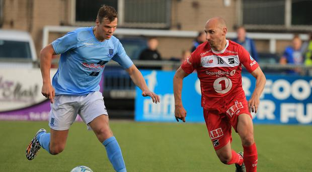 Odd one out: Ballymena United's Leroy Millar is closed down by Odd BK's Jone Samuelsen at Seaview last night. Photo: David Maginnis/Pacemaker