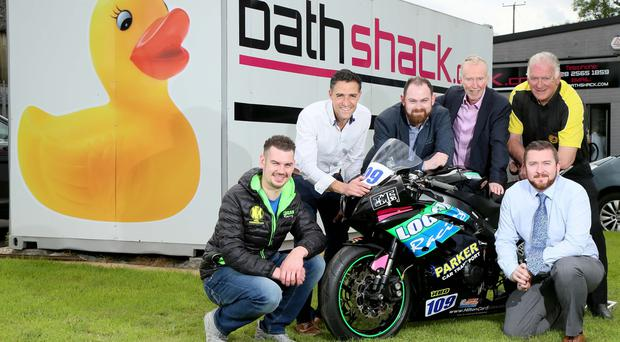 Channel Four will screen Armoy Road Races. Pictured is road racer, Neil Kernohan, with Graham Little from NPE Media, Connor Dunlop from Bathshack, Aubrey Irwin from Tourism Ireland, Bill Kennedy MBE, Clerk of the Course, Armoy Road Races and Peter Dunlop of Bathshack.