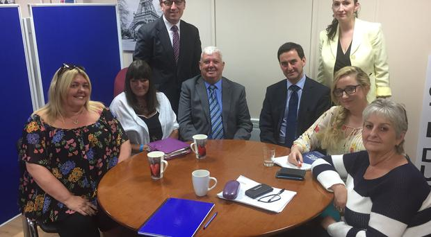 Sure Start representatives pictured with the DUP's Christopher Stanford Emma Little-Pengelly and Dept of Education Permanent Secretary Derek Baker.
