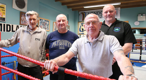 Pulling no punches: Tom Dunn, Tommy Waite, Billy McKee and Terry McCorran, who want recognition for the Northern Ireland Boxing Association, at the Midland Boxing Club