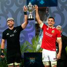 British and Irish Lions' Sam Warburton and New Zealand's Kieran Read lift the Series Trophy after the series is drawn during the third test of the 2017 British and Irish Lions tour at Eden Park, Auckland. David Davies/PA Wire.