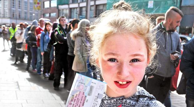 Shannon McVarnock was amongst the first of the Ed Sheeran fans, some of whom who were queueing outside DV8 Ticketmaster in Belfast's High Street since Thursday morning, to make sure of their tickets for the superstar's upcoming show in Belfast in May 2018. [Photo: Alan Lewis- PhotopressBelfast.co.uk 8-7-2017]