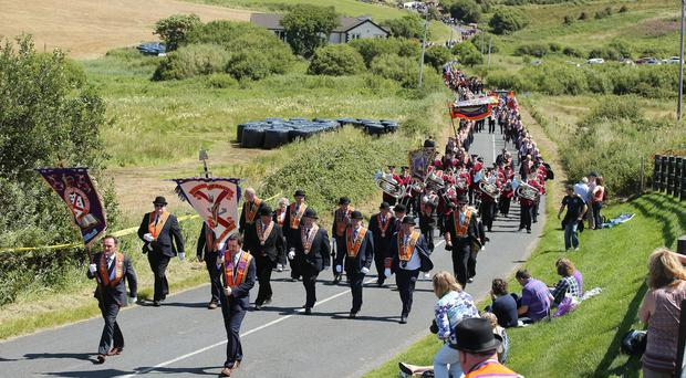 Marchers take part in the annual Rossnowlagh orange parade in County Donegal. [Photo by Kelvin Boyes / Press Eye 08/07/2017]