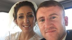 Pictured: Mari and Paddy after their wedding in their vintage wedding car. [Photo: @paddyb_ireland/Twitter]