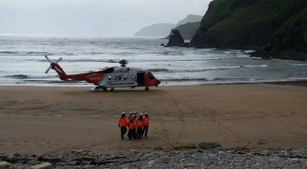 Volunteer members of Killybegs Coast Guard and the Sligo rescue helicopter which assisted in the search for the two men in Donegal [Photo: Killybegs Coast Guard Facebook page]