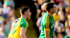 Pat's magic: Patrick McBrearty's joy as he lands late Donegal winner isn't shared by Meath opponent