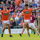 On target: Stephen Sheridan kicks an Armagh point