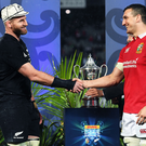 Shake on it: Respective captains Kieran Read and Sam Warburton shake hands in Auckland