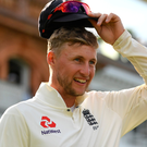 Hat's off: Joe Root celebrates debut win as England captain
