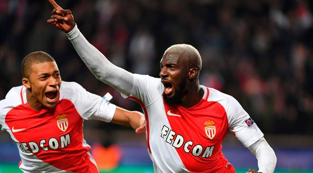 Monaco's French midfielder Tiemoue Bakayoko (R) is a target for Chelsea but could be set to join Lukaku at Manchester United