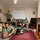 Pacemaker Press 8/7/17 Glentoran Players including Elliott Morris , Marcus Kane , John McGuigan, Corey McMullan, and James Ferrin , launch the new Glentoran Home Kit at the George Best family Home in East Belfast. Pic Colm Lenaghan/Pacemaker