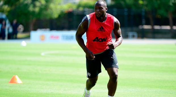 Romelo Lukaku of Manchester United trains for Tour 2017 at UCLA's Drake Stadium on July 10, 2017 in Los Angeles, California. (Photo by Harry How/Getty Images)