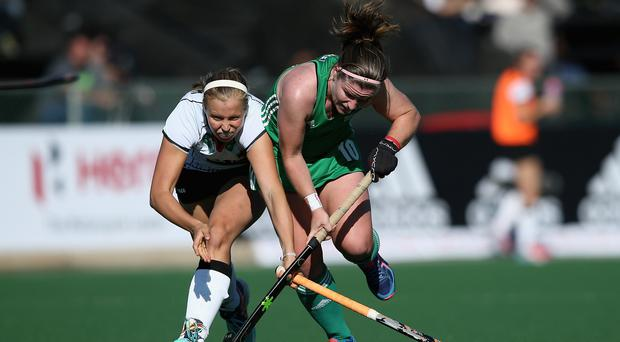 Sticking to it: Cecile Pieper of Germany and Shirley McCay of Ireland battle