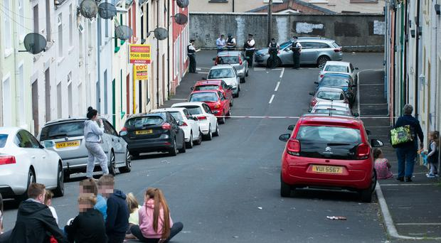 The scene at Tyrconnell Street in Derry where a child died in an accident on Tuesday morning.