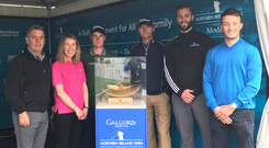 Top prize: Fergus Wallace of PerformanceACTIVE, who commissioned the new NI Open Trophy bowl, Eimear Callaghan, Tourism NI, Dermot McElroy, Michael Hoey, NI Open Tournament Ambassador, Ross Oliver, Galgorm Castle, and Sam Townend, European Tour