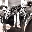 Sixties style: Members of the Down team sporting the new GAA ties they are entitled to wear as All-Ireland champions, before leaving for a tour of America. From left are: Dickie Murphy, John Murphy, Willie Doyle, George Lavery and Paddy Doherty
