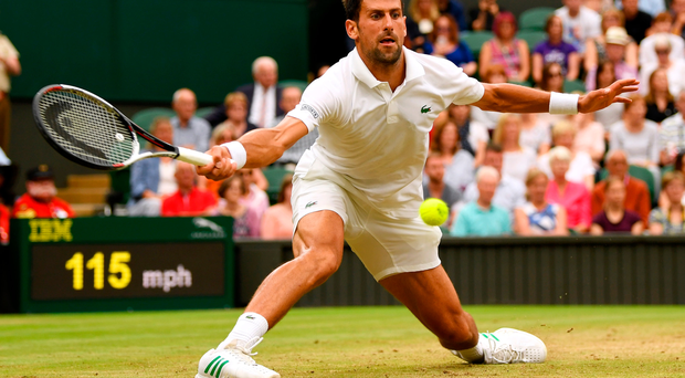 Worked-up: Novak Djokovic in action during yesterday's four-set victory over Adrian Mannarino