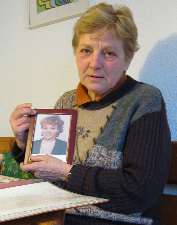 Inga's mum Almut Hauser with a picture of her beloved daughter
