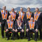 ANNALONG 12th July Parade 2017 Pictured back row L-R, Stephen Nicholson Distilled Sec, William Burns Dis Treasure, Rev Bobby Stevenson, Rev William Bingham, Eric Niblock Distilled Chap. Front row L-R, William Ballin Dep Distilled Mast, Sam Waker County Down Grand Master, Neil Cousin Distilled Master. [Copyright: Liam McBurney/RAZORPIX]