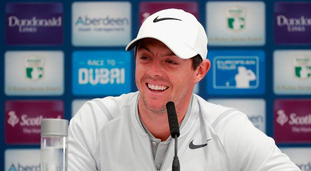 Smiles better: Rory McIlroy speaks to the media yesterday prior to the AAM Scottish Open at Dundonald Links which starts today. Photo: Gregory Shamus/Getty Images