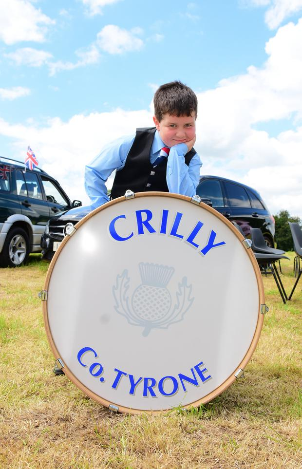 Clogher 12th Celebrations with young Jamie Bell age 6 with his first outing with Crilly Pipe band. Picture: Mark Winter