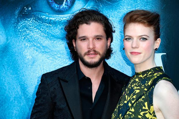Actors Kit Harington and Rose Leslie attend the premiere of HBO's Game Of Thrones season 7 (Photo by Frederick M. Brown/Getty Images)