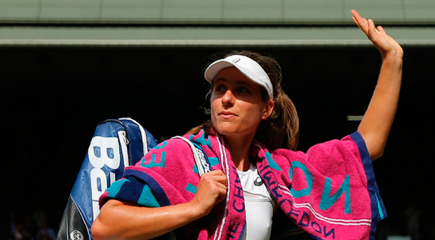Waving goodbye: Johanna Konta acknowledges the Wimbledon crowd after her semi-final defeat. Photo: Getty Images