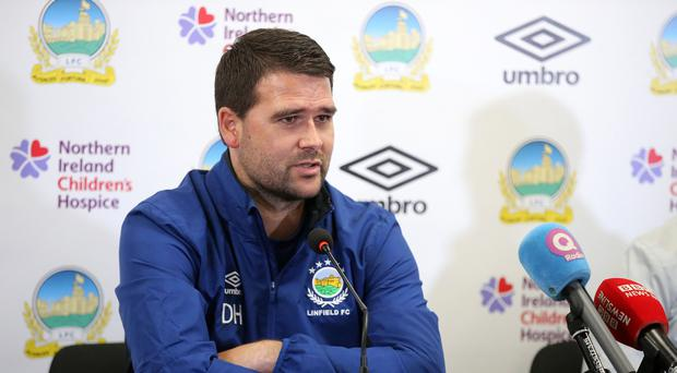 David Healy at the Linfield press conference at Windsor Park in Belfast ahead of their game with Celtic tomorrow evening. Photo by Kelvin Boyes / Press Eye.