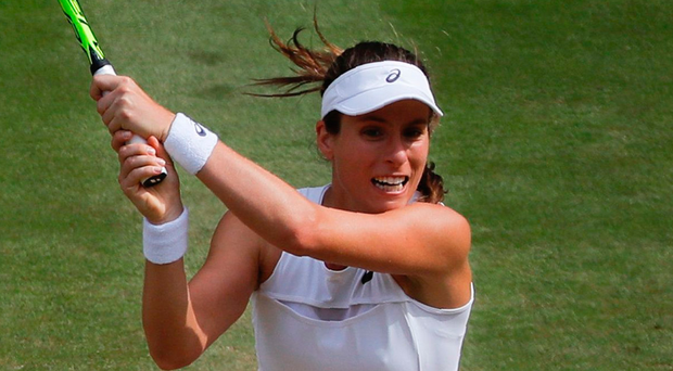 Battle: Johanna Konta slugs it out against Venus Williams but it was to be the American's day. Photo: Getty Images