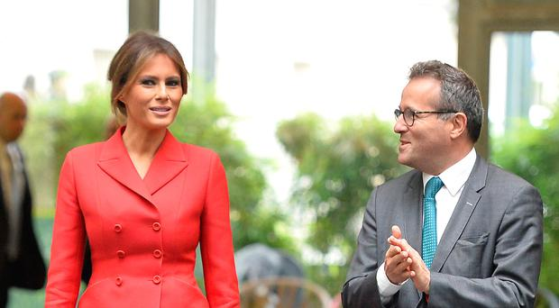 Melania Trump arrives to visit Necker Hospital