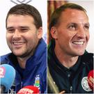 Linfield boss David Healy (left) is determined to make sure his players take their opportunity to impress against Celtic, whose manager Brendan Rodgers (right) is not underestimating their hosts.