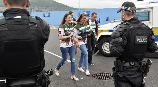 Champions league qualifying match first leg between Linfield and Celtic at Windsor park in Belfast. Celtic fans pictured ahead of todays game. Press Eye - Belfast - Northern Ireland -14th July Photo by Stephen Hamilton / Press Eye.
