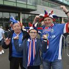 Champions league qualifying match first leg between Linfield and Celtic at Windsor park in Belfast. Linfield fans pictured ahead of today's game. Press Eye - Belfast - Northern Ireland -14th July Photo by Stephen Hamilton / Press Eye.