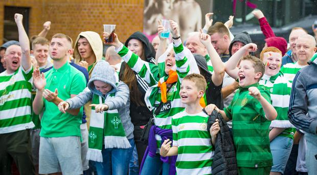 Celtic fans at the official fan zone in Devenish Complex, Belfast as Linfied take on Celtic in the Champions League Qualifier on July 14th 2017 (Photo by Kevin Scott / Belfast Telegraph)