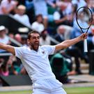 I've done it: Marin Cilic celebrates securing his place in the Wimbledon final. Photo: Getty Images