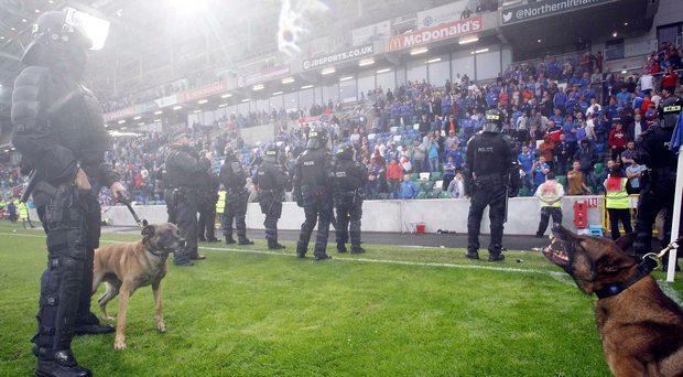 More than a game: Riot police get ready to step in. Photo: Aidan O'Reilly/Pacemaker. Photo: Aidan O'Reilly/Pacemaker Press