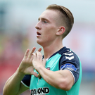 Bittersweet: Ronan Curtis hails his opener but Derry fell to defeat. Photo: Bryan Keane/INPHO