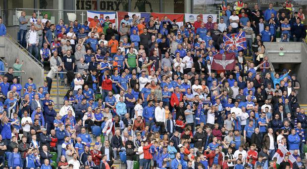 Atmosphere: Linfield fans enjoy the big match at Windsor Park last night. Photo: Stephen Hamilton /Presseye.
